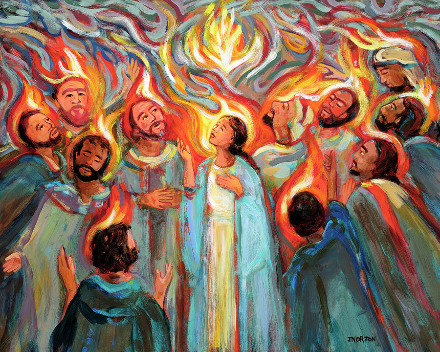 Drawing of a woman surrounded by ten men, all looking upwards as multicoloured flames surround their heads.