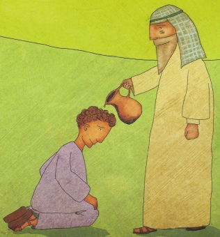 Drawing from a children's book of the prophet Samuel pouring oil on a kneeling boy, David, from a jug.