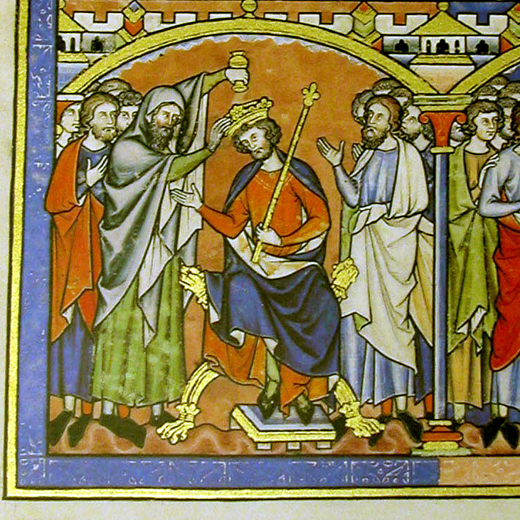 Illuminated medieval manuscript showing KIng Saul being anointed by the Prophet Samuel