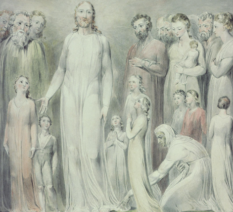 Drawing of Jesus standing, surrounded by people gazing at him, while one woman bends down to touch the hem of his robe.