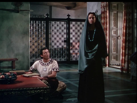 Still from the 1951 film David and Bathsheba, with Gregory Peck as David and Jayne Meadows as Michal