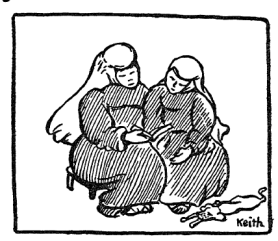 Line drawing of two religious sisters by Agnes Newton Keith.