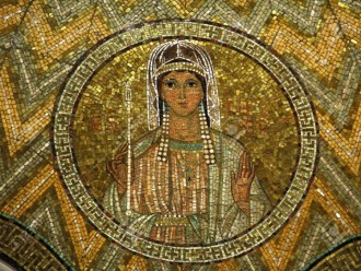 Mosaic picture of a woman with a sceptre in her hand