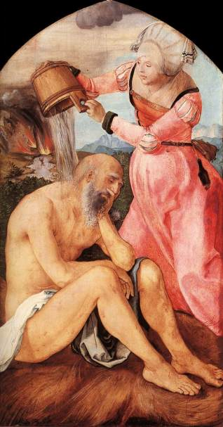 A woman pouring a bucket of water over an old man in a loincloth to soothe his suffering.